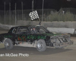 Rattlesnake Raceway - Hobby Stock winner David Ausano celebrates with a victory lap.