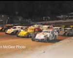 Fernley 95A Speedway - a 4-wide salute to the fans by the IMCA field.