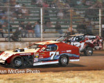 American Valley Speedway - Bill Pearson and Jeff Olschowka battle for the IMCA lead.