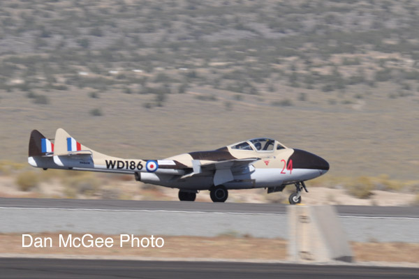 National Championship Air Races - Pete Zaccagnino in his winning Vampire jet.