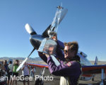 National Championship Air Races: Steven Hinton and trophy.