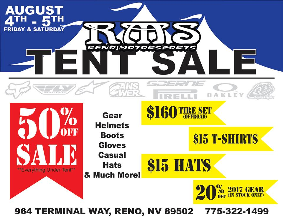 RMS Tent Sale poster.