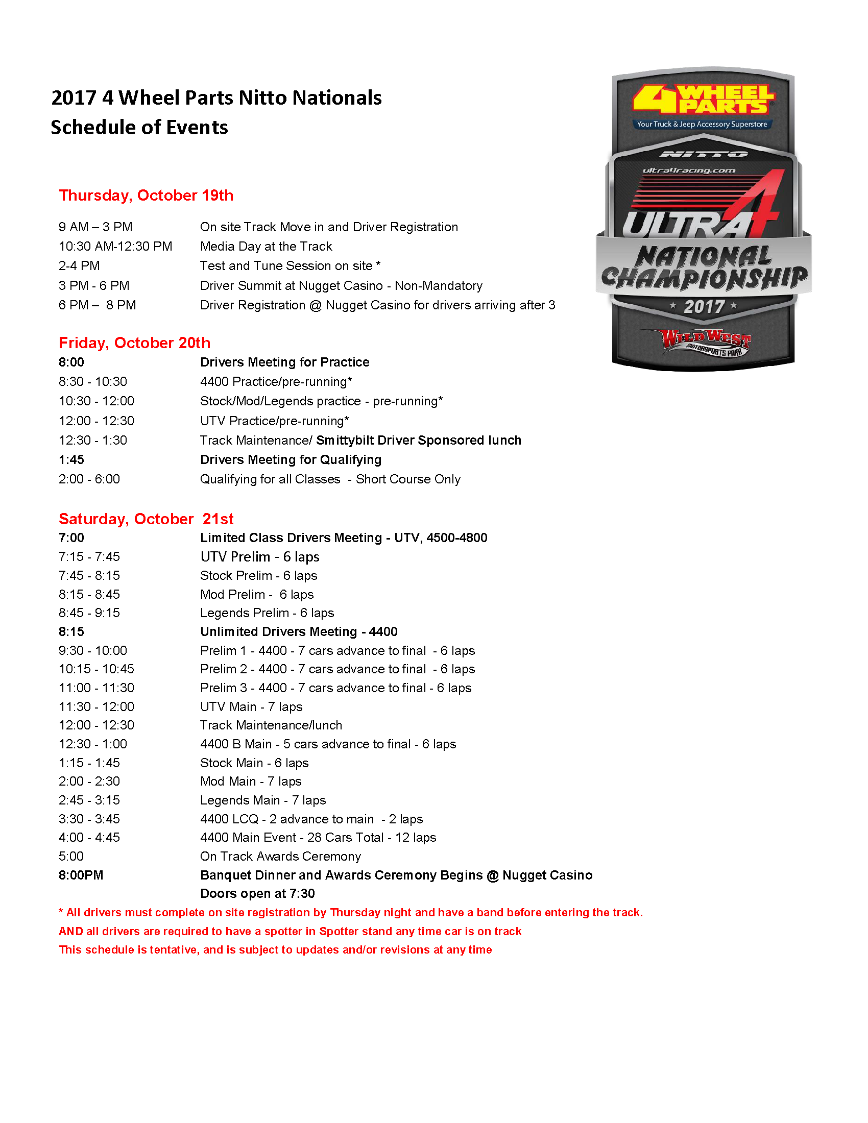 Nitto Tire Nationals schedule.